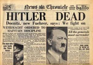 Image result for newspaper headline-hitler dead